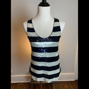 Sequin-Striped Top